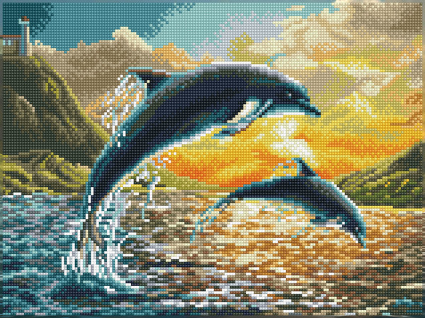 60169 DQK9.012 DIAMOND DOTZ® SQUARES - Pre Framed Kit - Formaat 32.7x43.2cm - Dolphin Sunset.