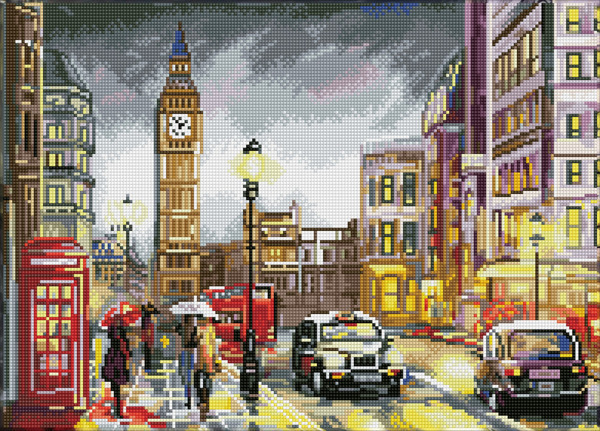 60172 DQ10.005 DIAMOND DOTZ® SQUARES - 37x51.5cm - London Scene.
