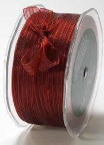 14592 Ribbon Sheer Iridescent Christmas Red 10mm.
