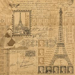 "16329 Kraft Reflections Paper 12""X12"" Glimpse of Paris."