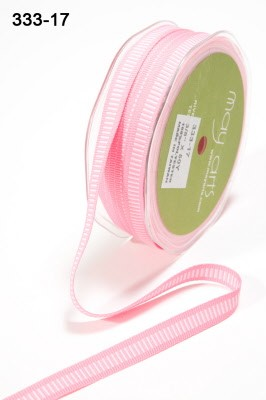 17180 PINK / WHITE Grosgrain / Center Lines 10mm.