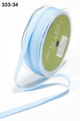 17181 LIGHT BLUE / WHITE Grosgrain / Center Lines 10mm.