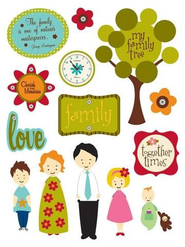18502 Stickers design shop Family 12X19,6 / 14 Stuks.