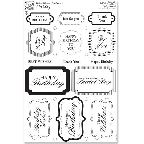 20075 Foiled Die-Cut Sentiments (22pcs) - Happy Birthday.