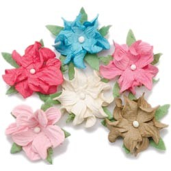 "20497 Bazzill Dimensional Paper Flowers 1.25"" 6/Pkg Sweet Twisted."