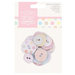 20801 Chipboard Buttons (24pcs) - Capsule - Spots & Stripes Pastels.