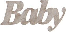 20980 Die-Cut Grey Chipboard Word 6 x 2,3 cm.