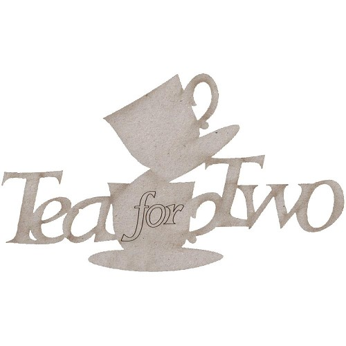 21118 Die-Cut Grey Chipboard Word Tea for Two 8x14,5 cm.