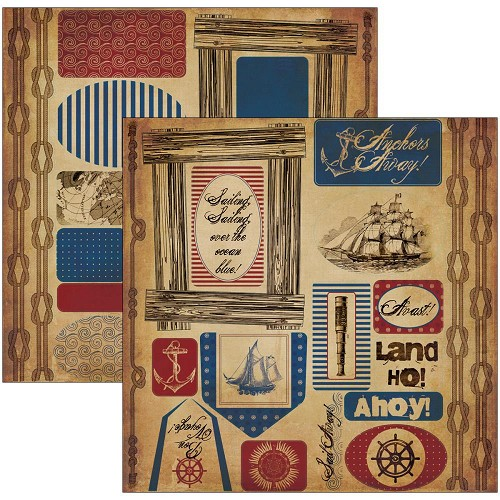 "22430 Nautical Double-Sided Die-Cuts 6""X12"" Sheets 2/Pkg."