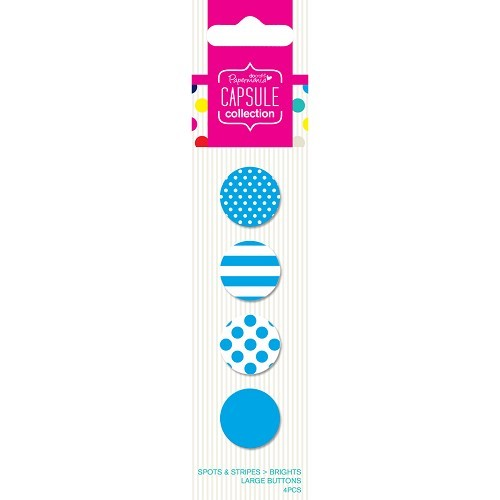 22489 Large Buttons (4pcs) - Capsule - Spots & Stripes Brights - Blue.