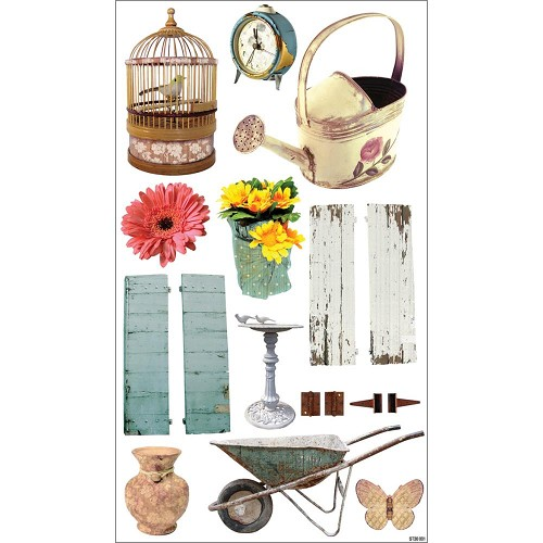 22523 Shabby Chic Clear Stickers Garden Pictures.