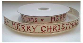22601 Cotton Lint met de Tekst Merry Christmas Rood 12mm x 1 Meter.