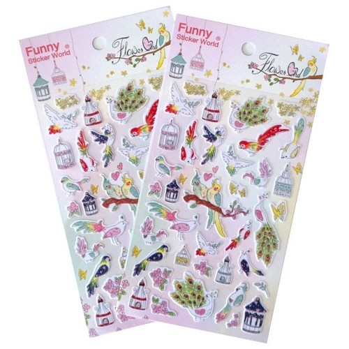23110 Stickers Flower Birds 10x19 cm.