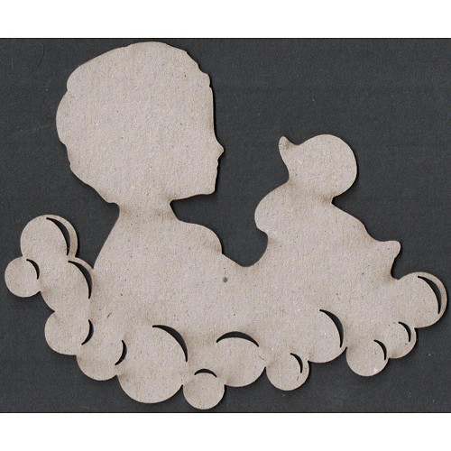 23111 Die-Cut Grey Chipboard Embellishments Child & Duck 10x12 cm.