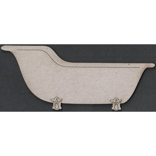 23112 Die-Cut Grey Chipboard Embellishments Vintage Bath Tub 6x13 cm.