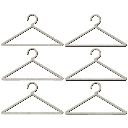 23292 Die-Cut Grey Chipboard Embellishments Coat Hangers 6/Pkg 2,5x4 cm.