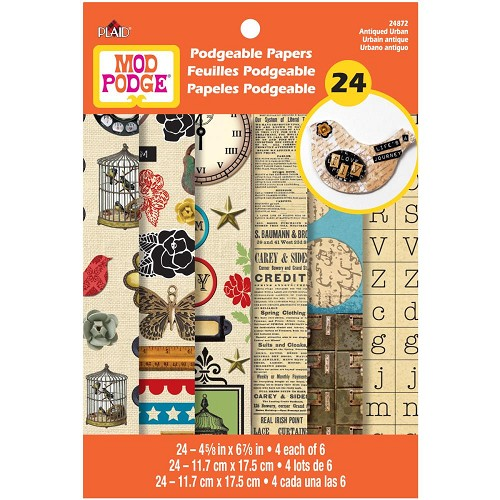 23524 Mod Podgeable Papers 12x17,5 cm 24 Sheets/Pkg Antique Urban.