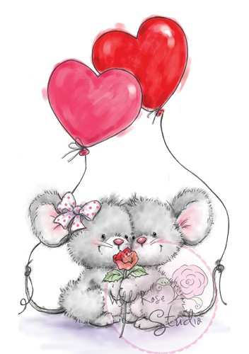 23623 Wild Rose Studio A7 Clear Stamp Mice with Balloons.