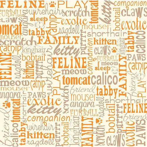 23668 Canvas Corp. Printed Single-Sided Cardstock Ivory Cat Words.