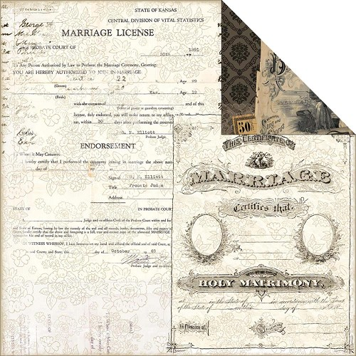23803 - 7 Gypsies Harmony Collection 2-Sided Paper Certificate Of Marriage.