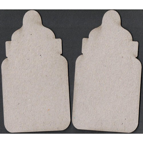 23862 Fab Scraps Die-Cut Grey Chipboard Embellishments Bottle 2 Stuks 5,5x10 cm.