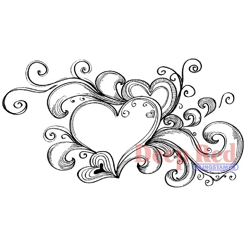 24575 Deep Red Cling Stamp Heart Flourish Splash  4,5x 9 cm.