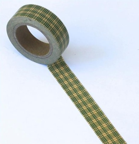24935 Washi Tape 15mmx10m Checks Brown/Green.