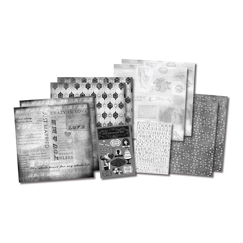 25117 Our Wedding Story Scrapbook Page Kit 12x12 Inch (8 papers 2 stickersheets).