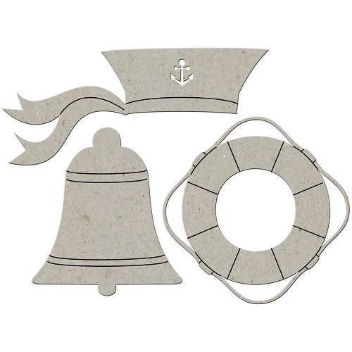 25579 Die-Cut Grey Chipboard Embellishments Sailor Hat, Lifesaver & Bell.