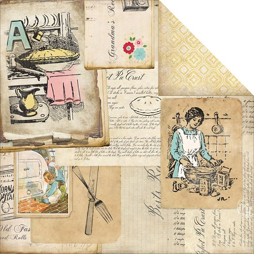25766 Carta Bella Homemade With Love 2-Sided Cardstock Grandma`s Recipes.