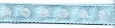 25820 Ribbon with Woven Circles Light Blue/White.