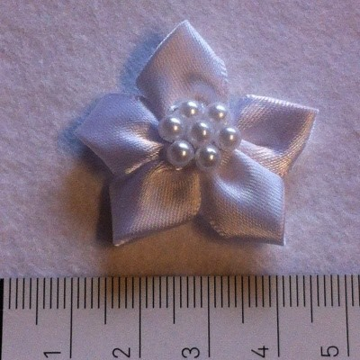 25840 Satin Star with Pearls 4 Stuks White 35mm.