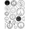32348 Crafty Individuals Unmounted Rubber Stamp Tick Tock Clock Faces 10,5x14 cm.