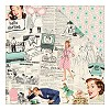 40859 Authentique Dubbelz. Papier 30,5x30,5 cm Fabulous One, Retro Collage News/Teal & Pink Geo.