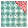 40862 Authentique Dubbelz. Papier 30,5x30,5 cm Fabulous Four, Teal Checked Cherries/Cherry.
