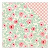 40863 Authentique Dubbelz. Papier 30,5x30,5 cm Fabulous Five, Retro Floral/Pink White Checker.