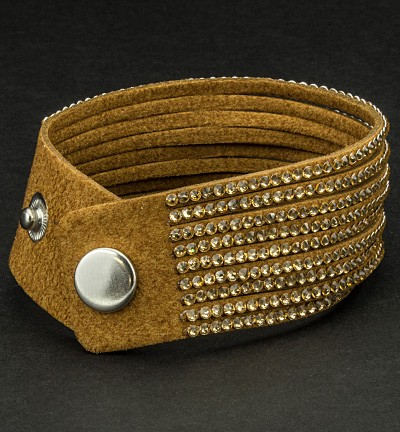 28879 Faux Suede Bracelet With Jewelry Brown 2.7 x 22 cm (12325-2512).