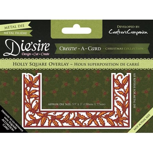 36403 Crafter`s Companion Die`sire Create a Card Metal Die - Holly Square Overlay.