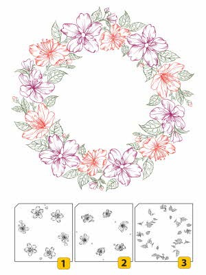 42968 Nellie Snellen Layered Clearstamps Wreath 2 - 3 Stuks (LCS002).