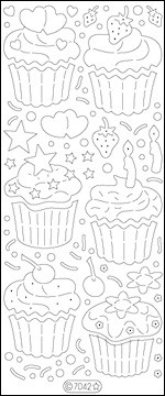 9530 1x Glitter sticker vel Cupcakes (groot) Transparant Zilver.