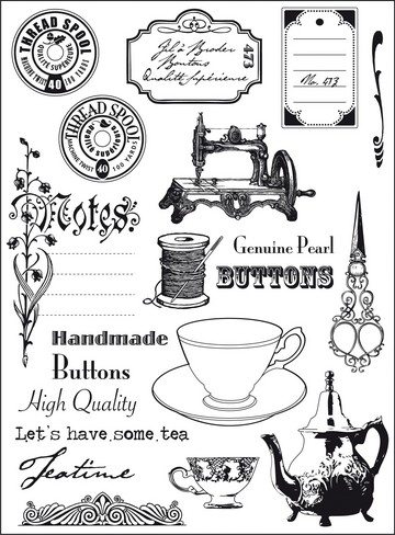 13214 Eline`s clear stamps Tea Time (EC0131).