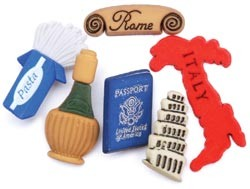 14715 Favorite Findings Buttons Italy 6/Pkg.