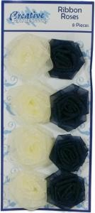 14955 Organza Ribbon Roses Cream/Navy pk 8.