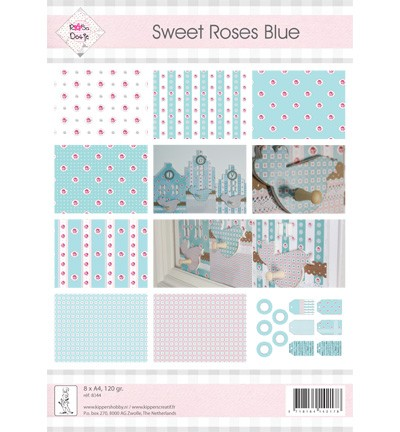 16512 Rosa Dotje 8 vel 1-sided  A4, 120gr. Sweet Roses Blue.