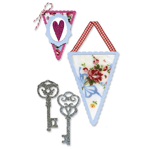 16552 Sizzlits Die Set 3PK - Banners & Keys Set (657402).