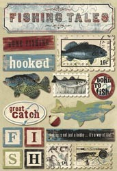 18702 Fishing Cardstock Stickers Fishing Tales (14 x 20 cm).